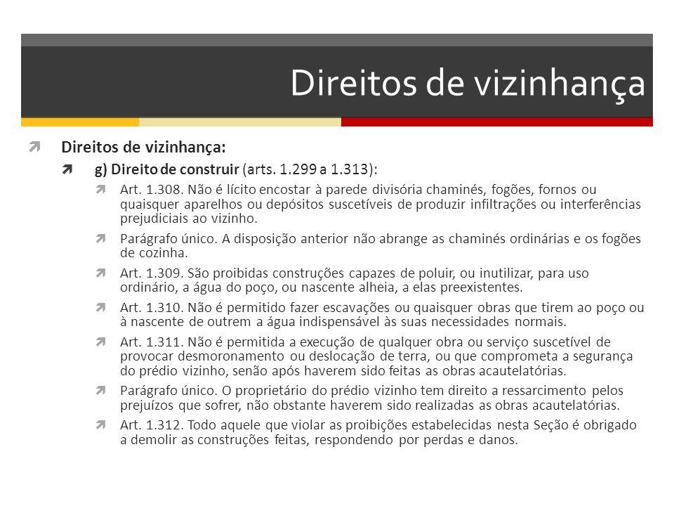 Direitos de vizinhança  Direitos de vizinhança:  g) Direito de construir (arts. 1.299 a 1.313):  Art. 1.308. Não é lícito encostar à parede divisór