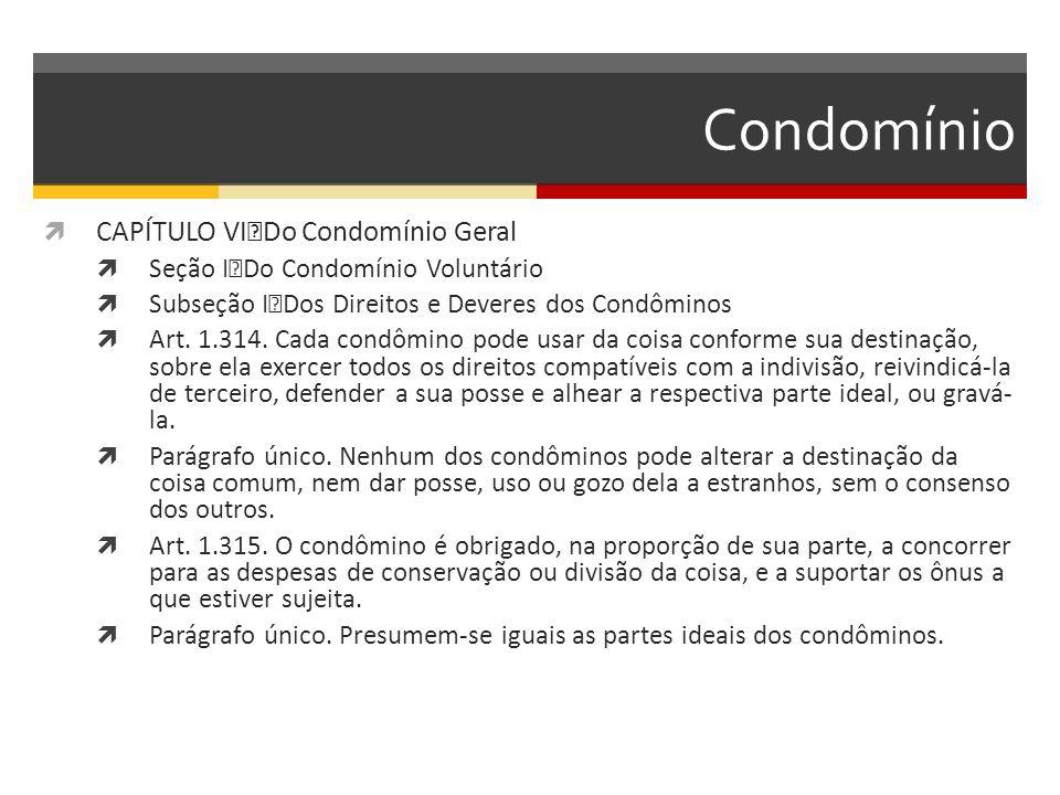 Condomínio  CAPÍTULO VI Do Condomínio Geral  Seção I Do Condomínio Voluntário  Subseção I Dos Direitos e Deveres dos Condôminos  Art.