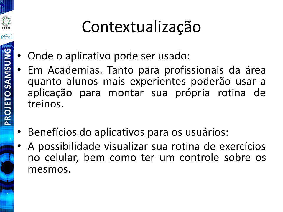 PROJETO SAMSUNG Contextualização Onde o aplicativo pode ser usado: Em Academias.
