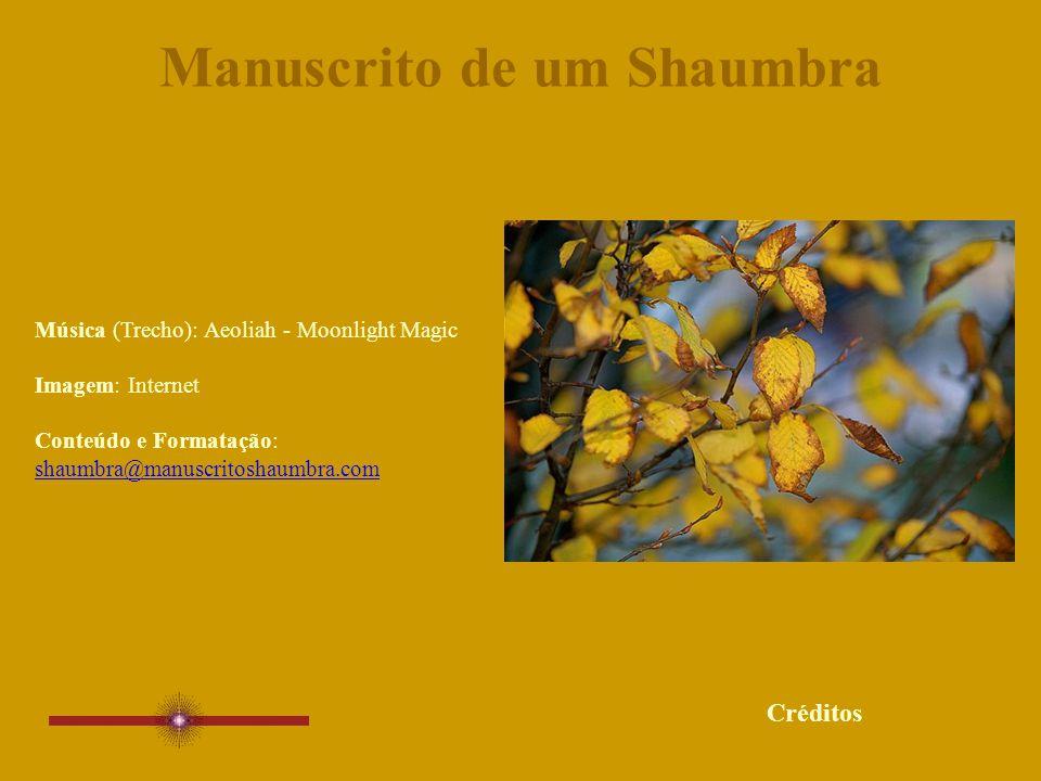 Manuscrito de um Shaumbra Música (Trecho): Aeoliah - Moonlight Magic Imagem: Internet Conteúdo e Formatação: shaumbra@manuscritoshaumbra.com shaumbra@manuscritoshaumbra.com Créditos