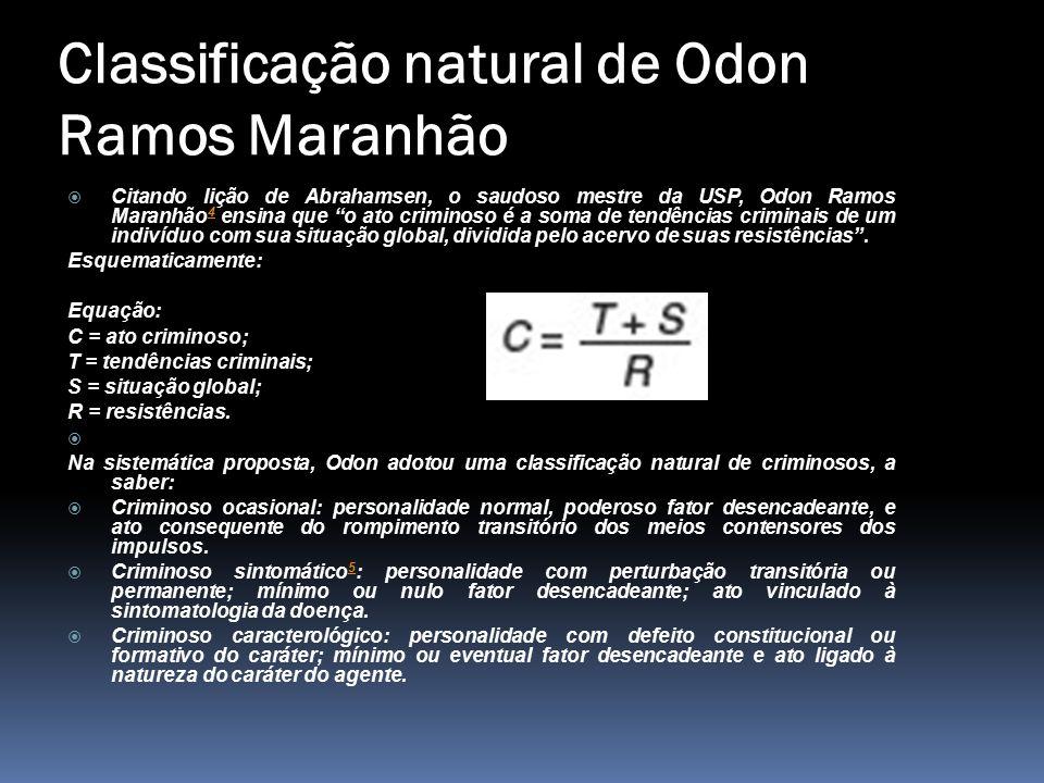 """Classificação natural de Odon Ramos Maranhão  Citando lição de Abrahamsen, o saudoso mestre da USP, Odon Ramos Maranhão 4 ensina que """"o ato criminoso"""