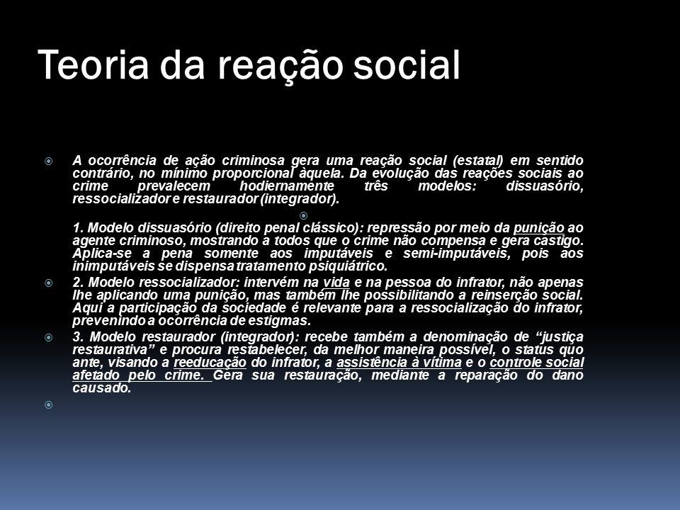 Teoria da reação social  A ocorrência de ação criminosa gera uma reação social (estatal) em sentido contrário, no mínimo proporcional àquela. Da evol