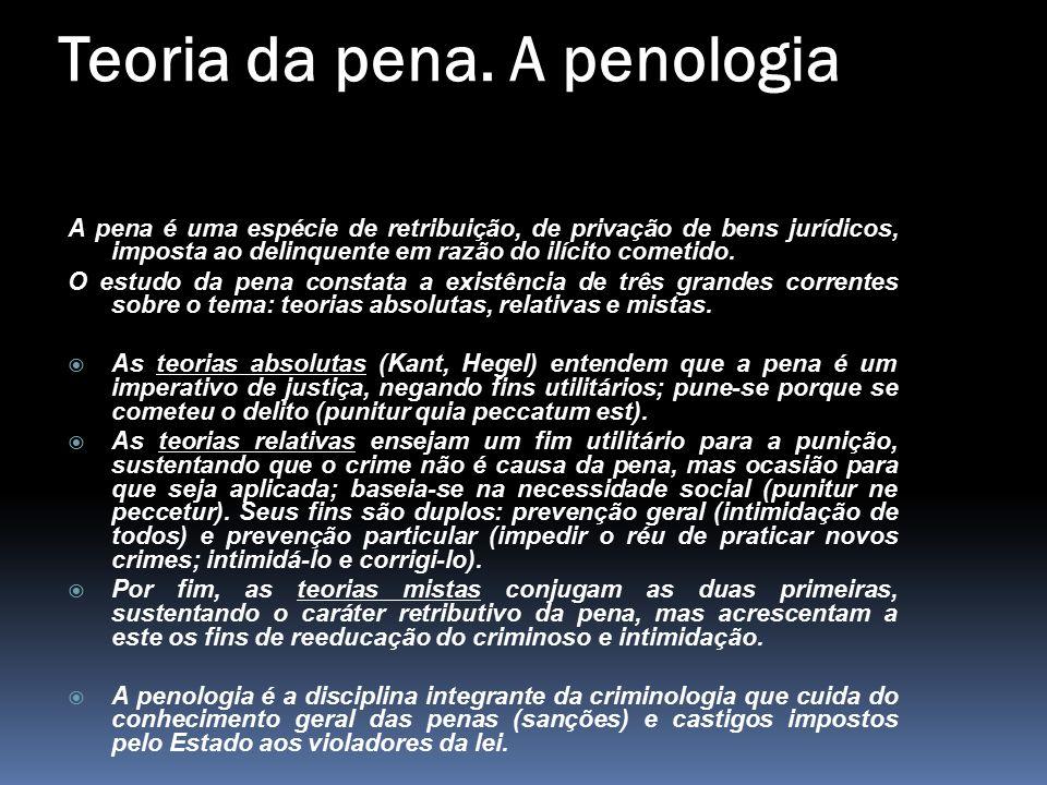 Teoria da pena. A penologia A pena é uma espécie de retribuição, de privação de bens jurídicos, imposta ao delinquente em razão do ilícito cometido. O