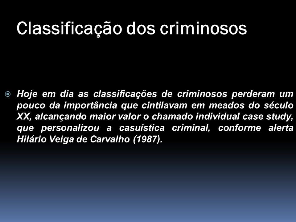 Classificação dos criminosos  Hoje em dia as classificações de criminosos perderam um pouco da importância que cintilavam em meados do século XX, alc