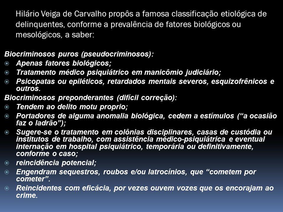 Hilário Veiga de Carvalho propôs a famosa classificação etiológica de delinquentes, conforme a prevalência de fatores biológicos ou mesológicos, a sab