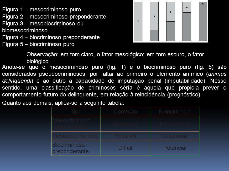 Observação: em tom claro, o fator mesológico; em tom escuro, o fator biológico. Figura 1 – mesocriminoso puro Figura 2 – mesocriminoso preponderante F