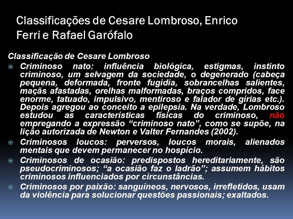 Classificações de Cesare Lombroso, Enrico Ferri e Rafael Garófalo Classificação de Cesare Lombroso  Criminoso nato: influência biológica, estigmas, i