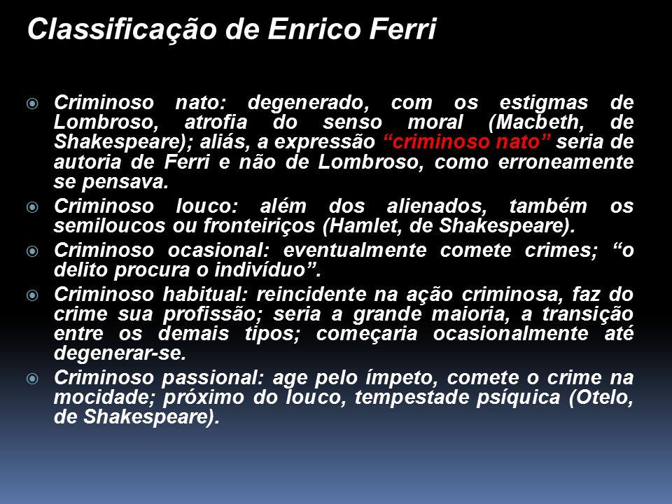 Classificação de Enrico Ferri  Criminoso nato: degenerado, com os estigmas de Lombroso, atrofia do senso moral (Macbeth, de Shakespeare); aliás, a ex