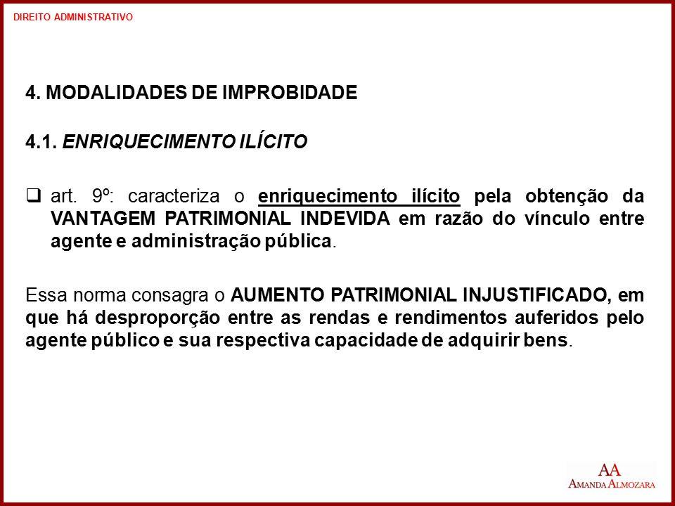 4. MODALIDADES DE IMPROBIDADE 4.1. ENRIQUECIMENTO ILÍCITO  art. 9º: caracteriza o enriquecimento ilícito pela obtenção da VANTAGEM PATRIMONIAL INDEVI