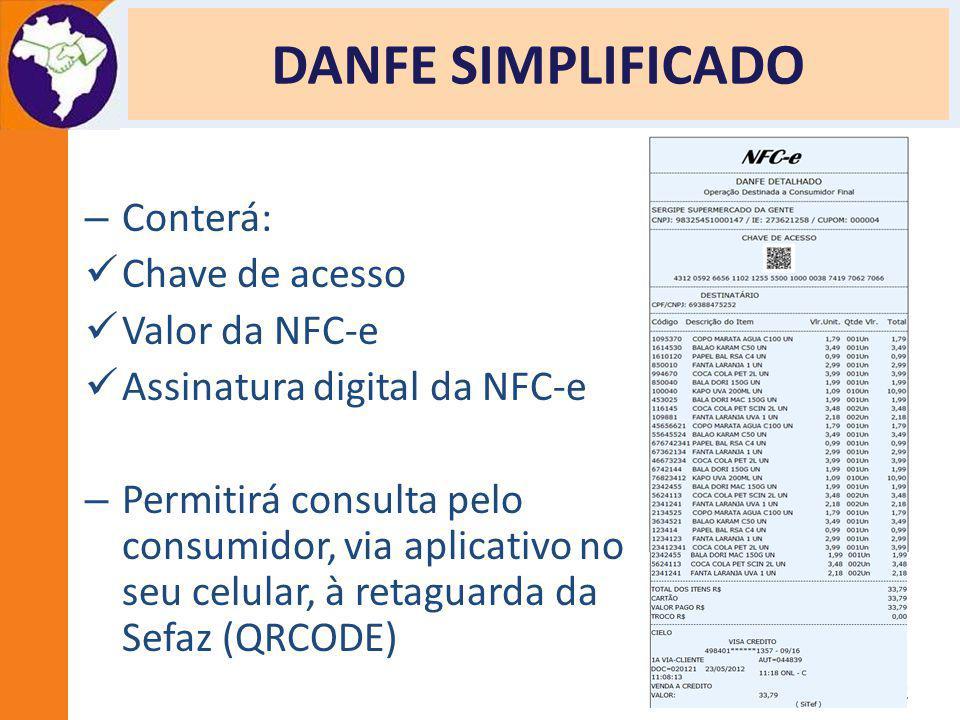 Apresentação Projeto NFC-e - Porto Alegre - 27/06/2012 DANFE SIMPLIFICADO – Conterá: Chave de acesso Valor da NFC-e Assinatura digital da NFC-e – Perm
