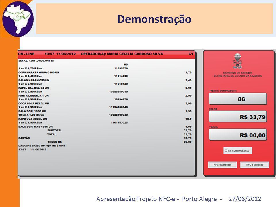 Apresentação Projeto NFC-e - Porto Alegre - 27/06/2012 Demonstração