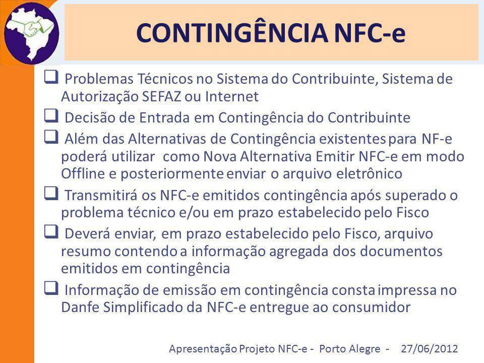 Apresentação Projeto NFC-e - Porto Alegre - 27/06/2012 CONTINGÊNCIA NFC-e  Problemas Técnicos no Sistema do Contribuinte, Sistema de Autorização SEFA
