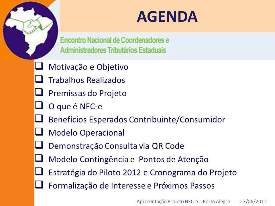 Apresentação Projeto NFC-e - Porto Alegre - 27/06/2012 AGENDA  Motivação e Objetivo  Trabalhos Realizados  Premissas do Projeto  O que é NFC-e  B