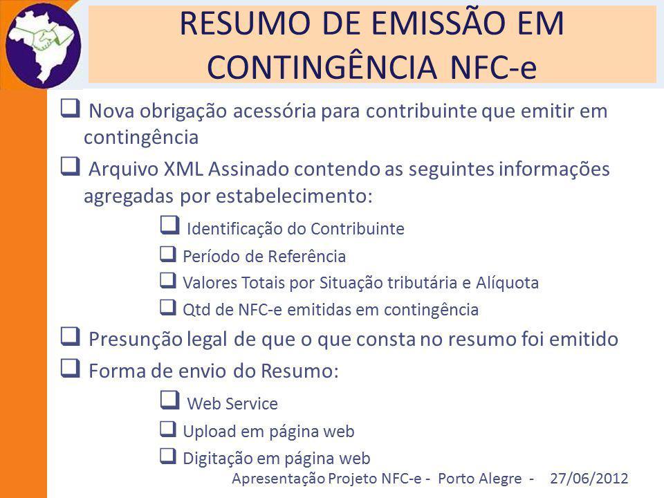 Apresentação Projeto NFC-e - Porto Alegre - 27/06/2012 RESUMO DE EMISSÃO EM CONTINGÊNCIA NFC-e  Nova obrigação acessória para contribuinte que emitir