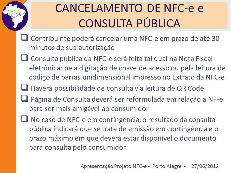 Apresentação Projeto NFC-e - Porto Alegre - 27/06/2012 CANCELAMENTO DE NFC-e e CONSULTA PÚBLICA  Contribuinte poderá cancelar uma NFC-e em prazo de a