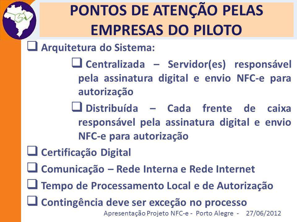 Apresentação Projeto NFC-e - Porto Alegre - 27/06/2012 PONTOS DE ATENÇÃO PELAS EMPRESAS DO PILOTO  Arquitetura do Sistema:  Centralizada – Servidor(