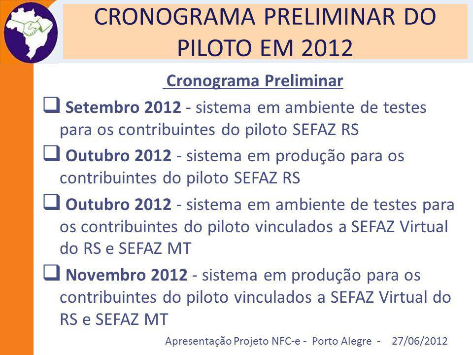 Apresentação Projeto NFC-e - Porto Alegre - 27/06/2012 CRONOGRAMA PRELIMINAR DO PILOTO EM 2012 Cronograma Preliminar  Setembro 2012 - sistema em ambi