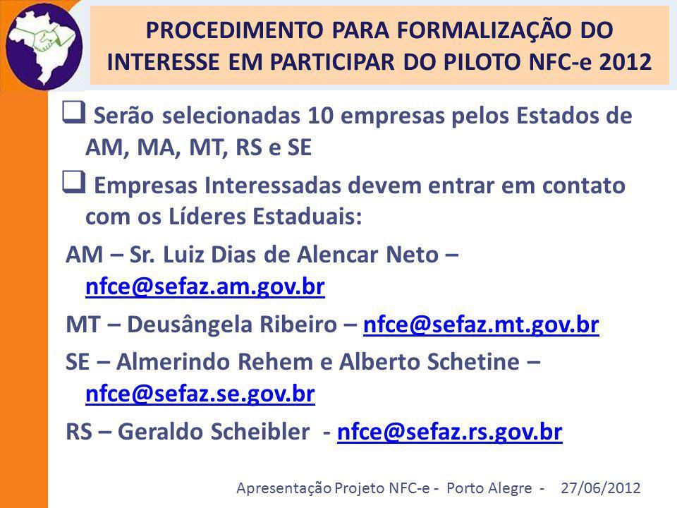 Apresentação Projeto NFC-e - Porto Alegre - 27/06/2012 PROCEDIMENTO PARA FORMALIZAÇÃO DO INTERESSE EM PARTICIPAR DO PILOTO NFC-e 2012  Serão selecion