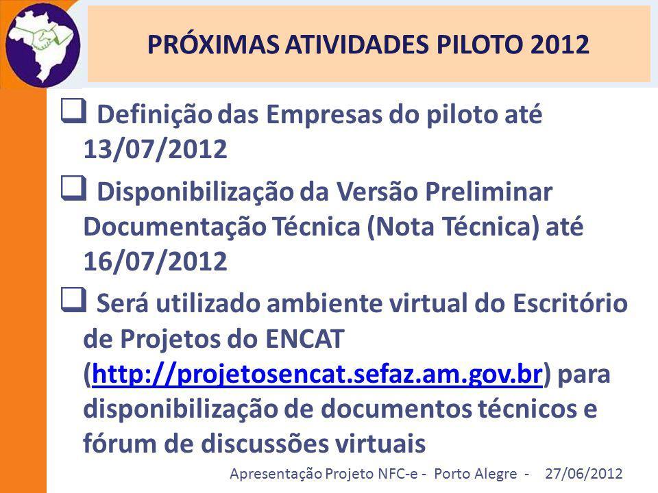 Apresentação Projeto NFC-e - Porto Alegre - 27/06/2012 PRÓXIMAS ATIVIDADES PILOTO 2012  Definição das Empresas do piloto até 13/07/2012  Disponibili