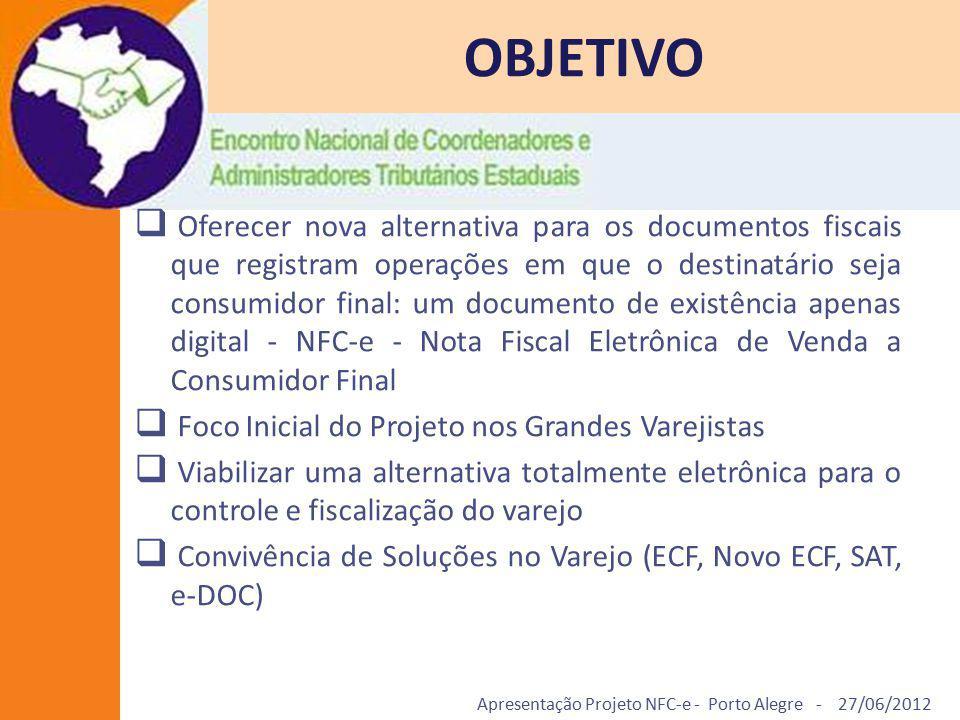 Apresentação Projeto NFC-e - Porto Alegre - 27/06/2012 OBJETIVO  Oferecer nova alternativa para os documentos fiscais que registram operações em que