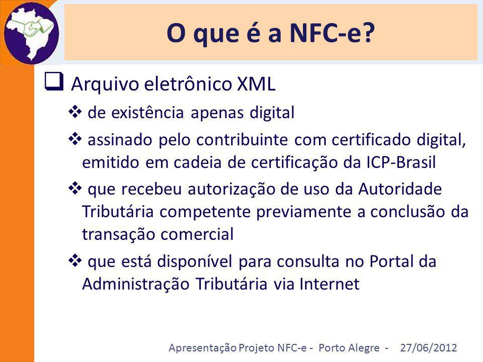 Apresentação Projeto NFC-e - Porto Alegre - 27/06/2012 O que é a NFC-e?  Arquivo eletrônico XML  de existência apenas digital  assinado pelo contri