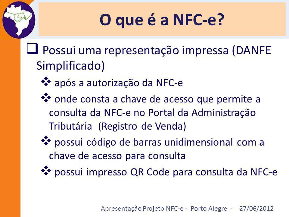 Apresentação Projeto NFC-e - Porto Alegre - 27/06/2012 O que é a NFC-e?  Possui uma representação impressa (DANFE Simplificado)  após a autorização
