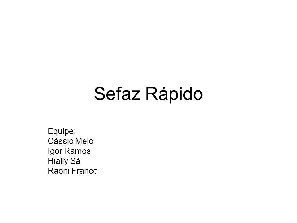 Sefaz Rápido Equipe: Cássio Melo Igor Ramos Hially Sá Raoni Franco