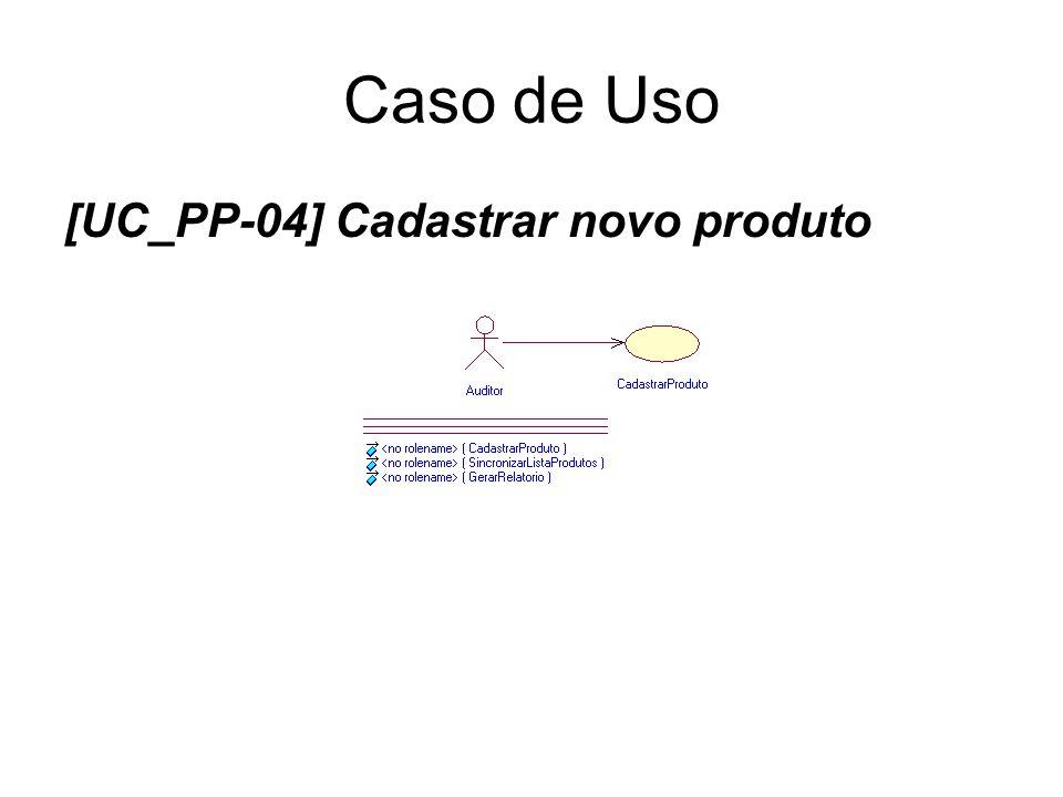 Caso de Uso [UC_PP-04] Cadastrar novo produto