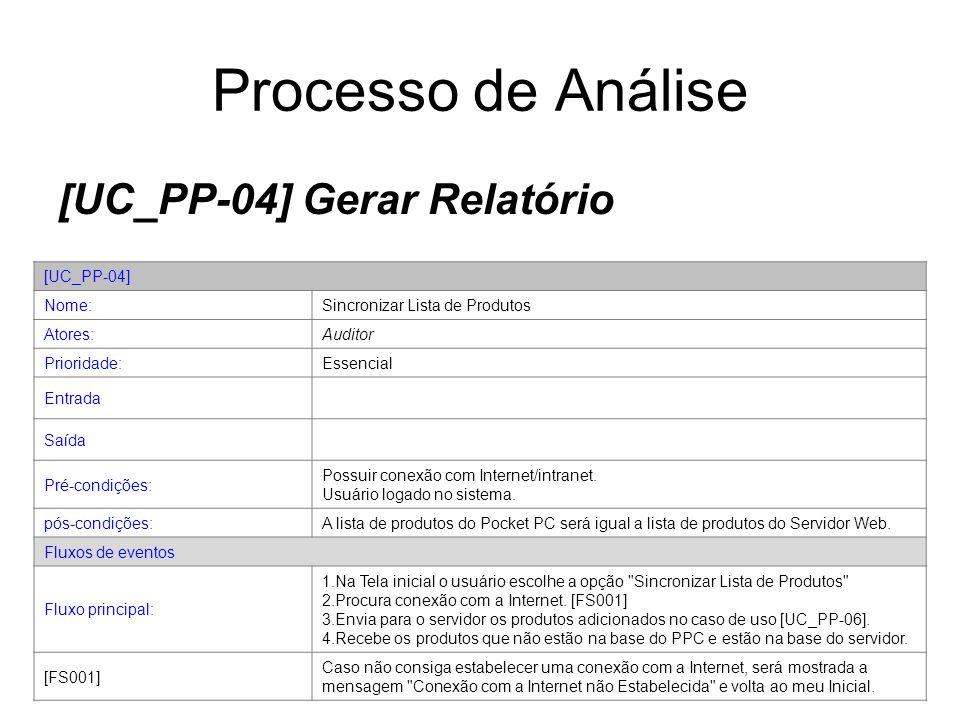 Processo de Análise [UC_PP-04] Gerar Relatório [UC_PP-04] Nome: Sincronizar Lista de Produtos Atores: Auditor Prioridade: Essencial Entrada Saída Pré-condições: Possuir conexão com Internet/intranet.