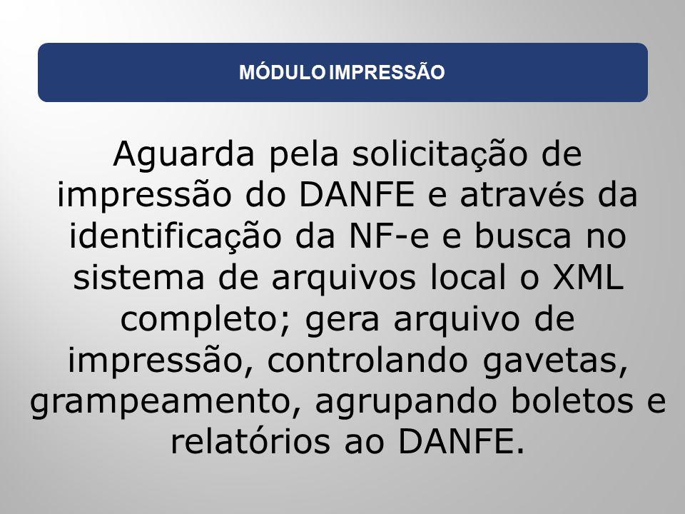 MÓDULO IMPRESSÃO Aguarda pela solicita ç ão de impressão do DANFE e atrav é s da identifica ç ão da NF-e e busca no sistema de arquivos local o XML co