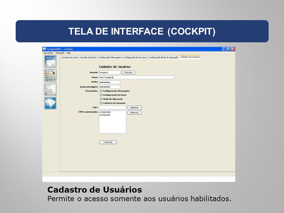 TELA DE INTERFACE (COCKPIT) Cadastro de Usuários Permite o acesso somente aos usuários habilitados.