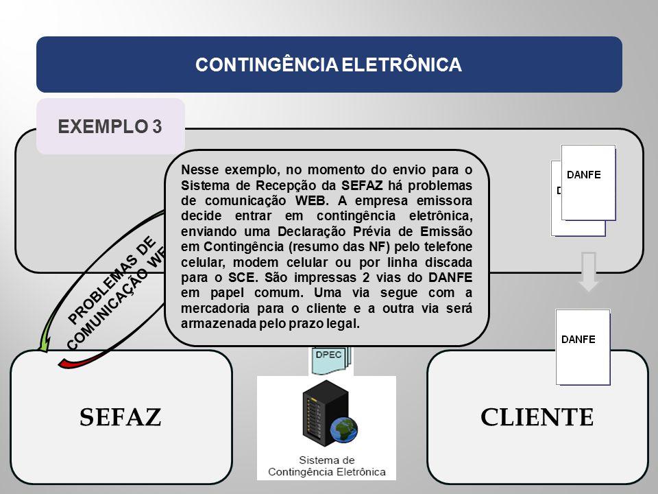 EMPRESA EMISSORA CONTINGÊNCIA ELETRÔNICA SEFAZCLIENTE PROBLEMAS DE COMUNICAÇÃO WEB EXEMPLO 3 Nesse exemplo, no momento do envio para o Sistema de Rece
