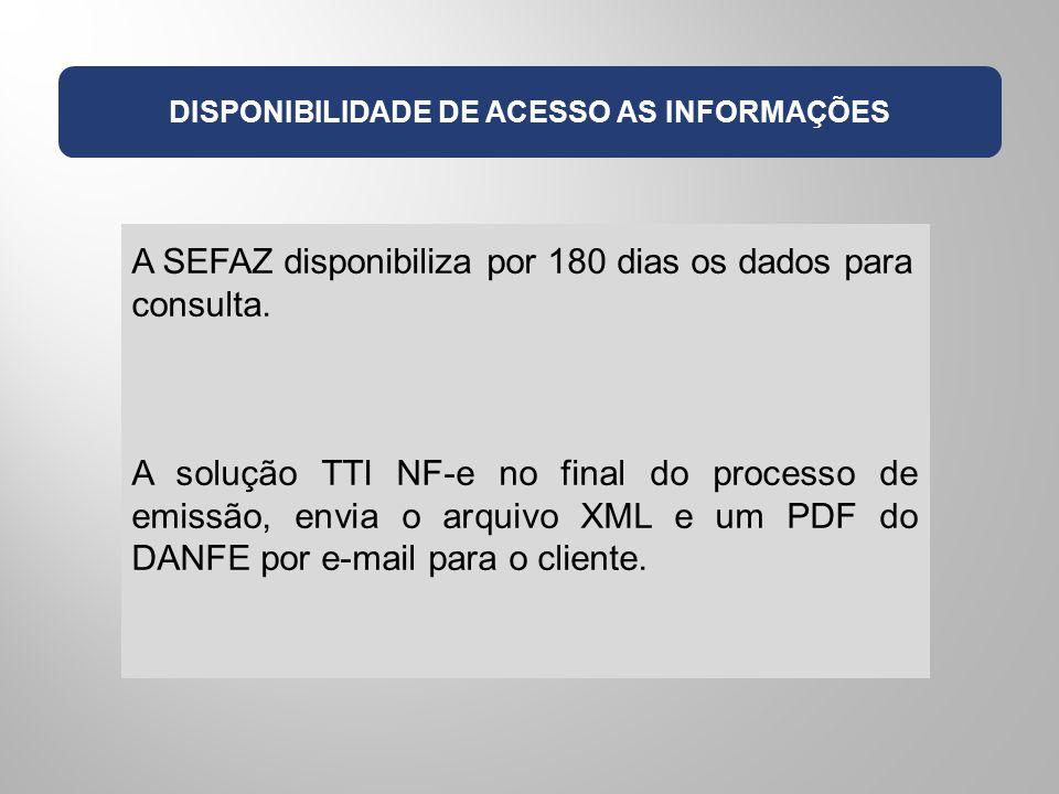 DISPONIBILIDADE DE ACESSO AS INFORMAÇÕES A SEFAZ disponibiliza por 180 dias os dados para consulta. A solução TTI NF-e no final do processo de emissão