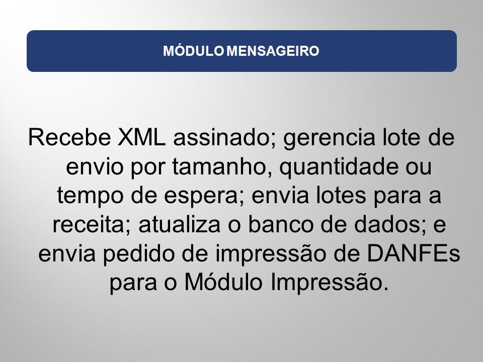 MÓDULO MENSAGEIRO Recebe XML assinado; gerencia lote de envio por tamanho, quantidade ou tempo de espera; envia lotes para a receita; atualiza o banco