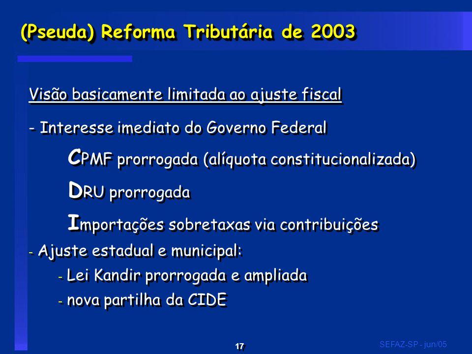 17 SEFAZ-SP - jun/05 (Pseuda) Reforma Tributária de 2003 Visão basicamente limitada ao ajuste fiscal - Interesse imediato do Governo Federal C PMF pro