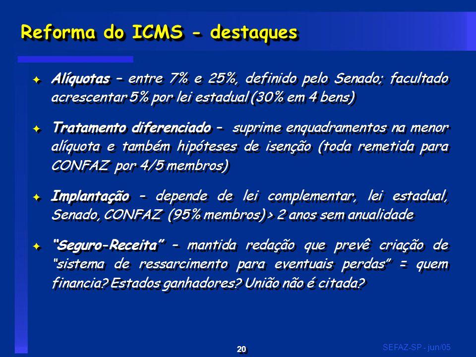 20 SEFAZ-SP - jun/05 Reforma do ICMS - destaques F Alíquotas – entre 7% e 25%, definido pelo Senado; facultado acrescentar 5% por lei estadual (30% em