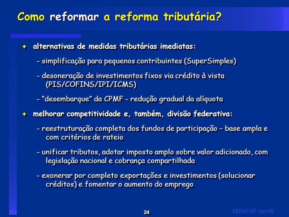 24 SEFAZ-SP - jun/05 F alternativas de medidas tributárias imediatas: - simplificação para pequenos contribuintes (SuperSimples) - desoneração de investimentos fixos via crédito à vista (PIS/COFINS/IPI/ICMS) - desembarque da CPMF - redução gradual da alíquota F melhorar competitividade e, também, divisão federativa: - reestruturação completa dos fundos de participação – base ampla e com critérios de rateio - unificar tributos, adotar imposto amplo sobre valor adicionado, com legislação nacional e cobrança compartilhada - exonerar por completo exportações e investimentos (solucionar créditos) e fomentar o aumento do emprego F alternativas de medidas tributárias imediatas: - simplificação para pequenos contribuintes (SuperSimples) - desoneração de investimentos fixos via crédito à vista (PIS/COFINS/IPI/ICMS) - desembarque da CPMF - redução gradual da alíquota F melhorar competitividade e, também, divisão federativa: - reestruturação completa dos fundos de participação – base ampla e com critérios de rateio - unificar tributos, adotar imposto amplo sobre valor adicionado, com legislação nacional e cobrança compartilhada - exonerar por completo exportações e investimentos (solucionar créditos) e fomentar o aumento do emprego Como reformar a reforma tributária