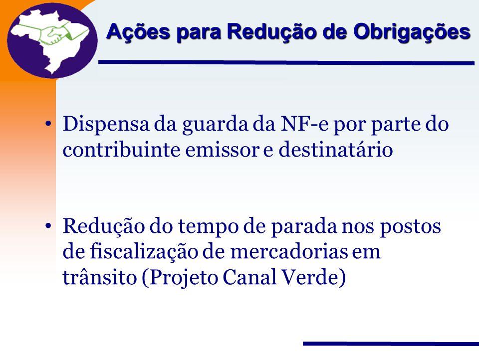 Nota Fiscal Eletrônica Projeto Ações para Redução de Obrigações Dispensa da guarda da NF-e por parte do contribuinte emissor e destinatário Redução do