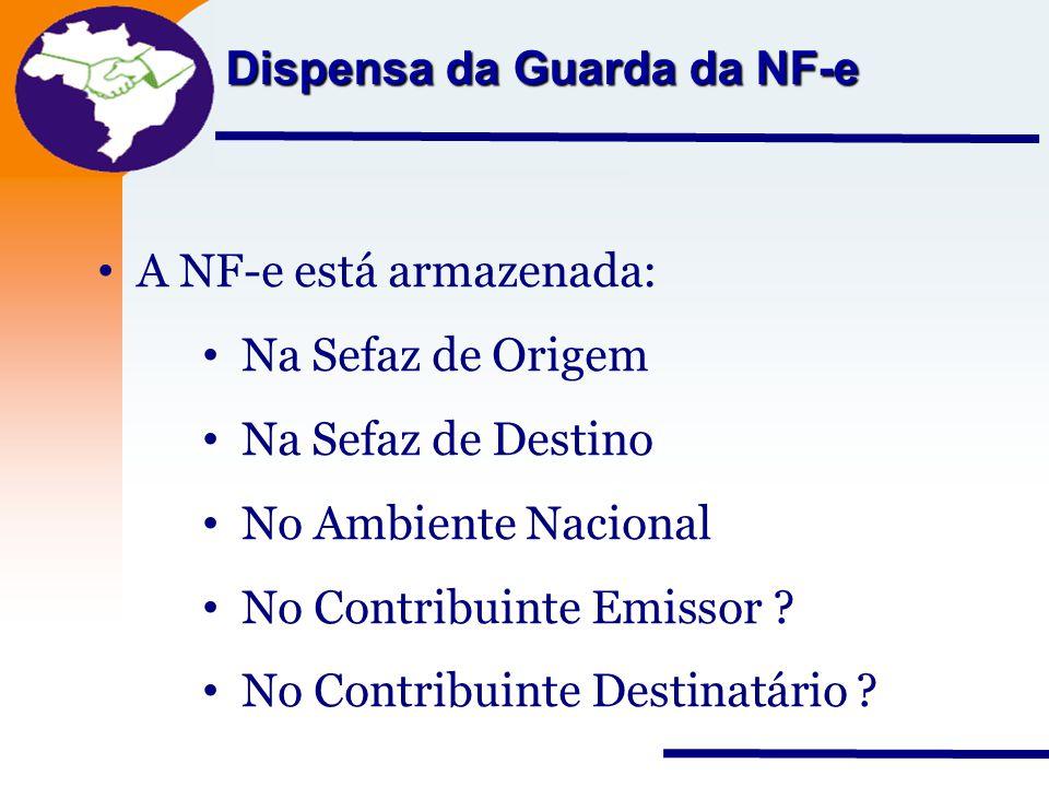 Nota Fiscal Eletrônica Projeto Dispensa da Guarda da NF-e A NF-e está armazenada: Na Sefaz de Origem Na Sefaz de Destino No Ambiente Nacional No Contr