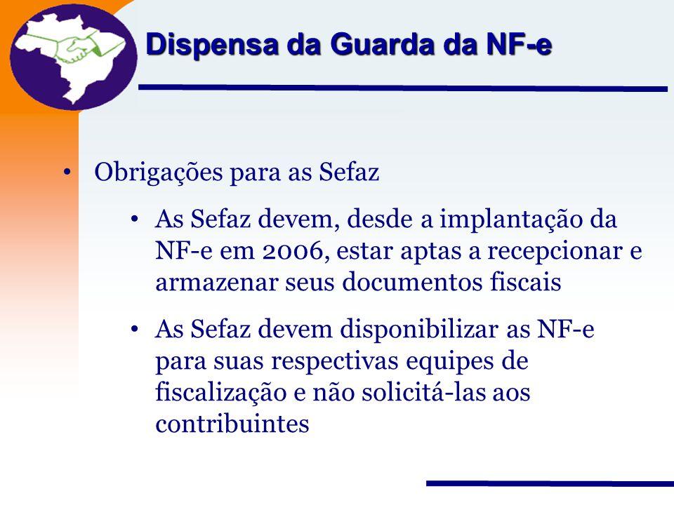 Nota Fiscal Eletrônica Projeto Dispensa da Guarda da NF-e Obrigações para as Sefaz As Sefaz devem, desde a implantação da NF-e em 2006, estar aptas a