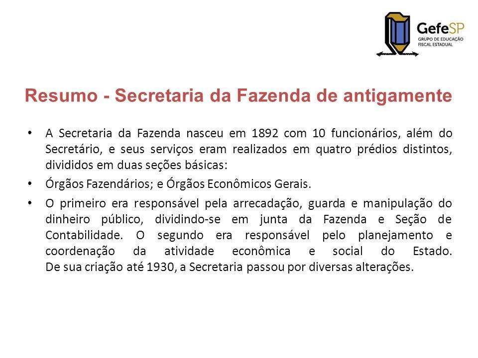 Resumo - Secretaria da Fazenda de antigamente A Secretaria da Fazenda nasceu em 1892 com 10 funcionários, além do Secretário, e seus serviços eram rea