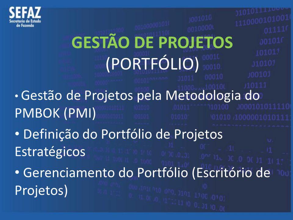 GESTÃO DE PROJETOS (PORTFÓLIO) Gestão de Projetos pela Metodologia do PMBOK (PMI) Definição do Portfólio de Projetos Estratégicos Gerenciamento do Por
