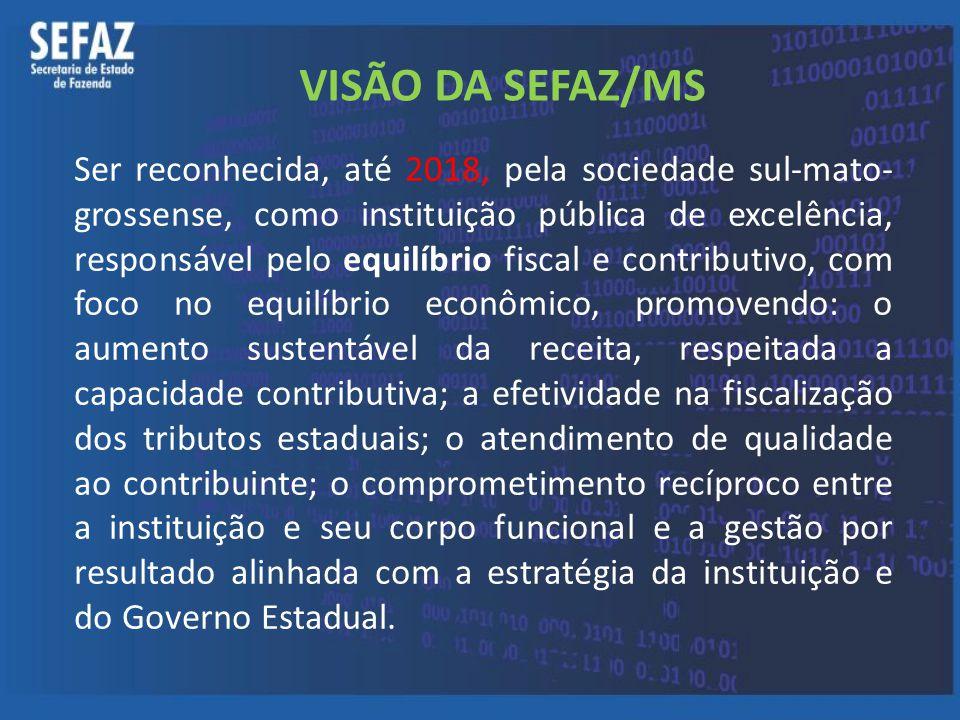 VISÃO DA SEFAZ/MS Ser reconhecida, até 2018, pela sociedade sul-mato- grossense, como instituição pública de excelência, responsável pelo equilíbrio f