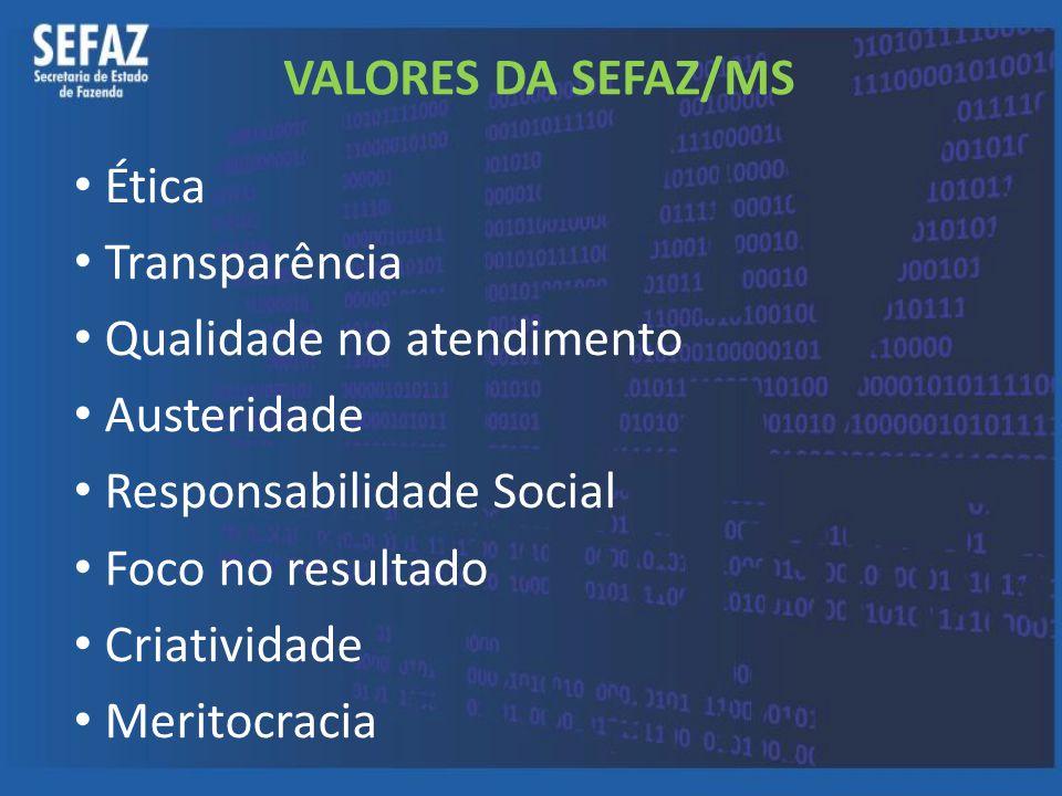 VALORES DA SEFAZ/MS Ética Transparência Qualidade no atendimento Austeridade Responsabilidade Social Foco no resultado Criatividade Meritocracia