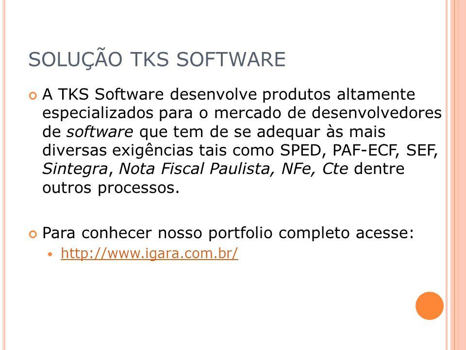 SOLUÇÃO TKS SOFTWARE A TKS Software desenvolve produtos altamente especializados para o mercado de desenvolvedores de software que tem de se adequar à