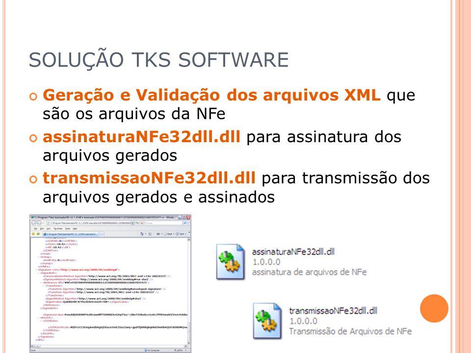 SOLUÇÃO TKS SOFTWARE Geração e Validação dos arquivos XML que são os arquivos da NFe assinaturaNFe32dll.dll para assinatura dos arquivos gerados trans