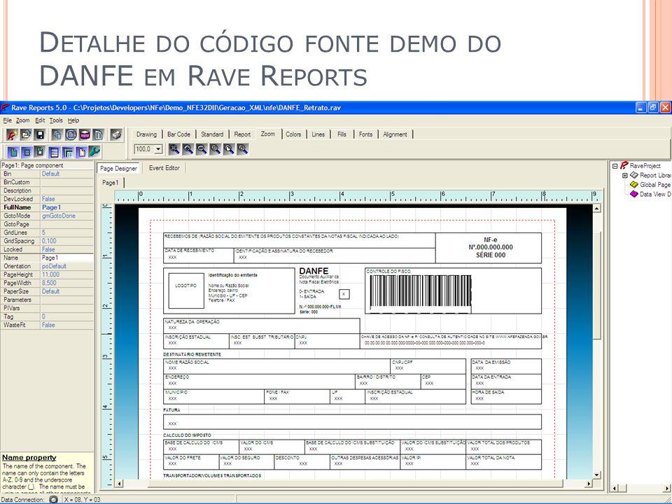 D ETALHE DO CÓDIGO FONTE DEMO DO DANFE EM R AVE R EPORTS