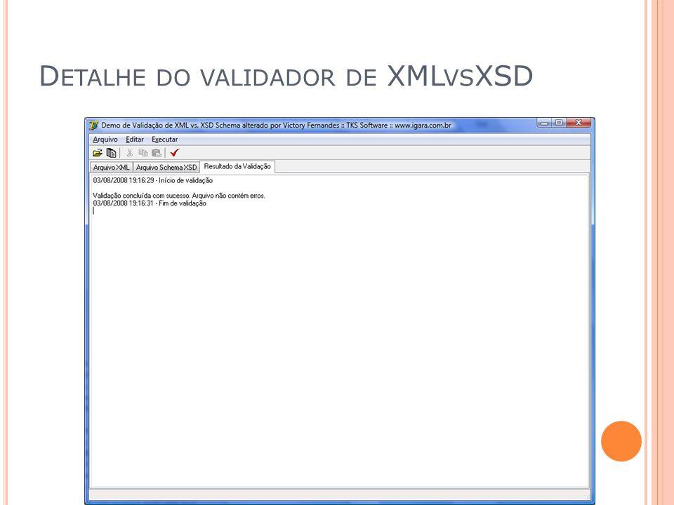D ETALHE DO VALIDADOR DE XML VS XSD