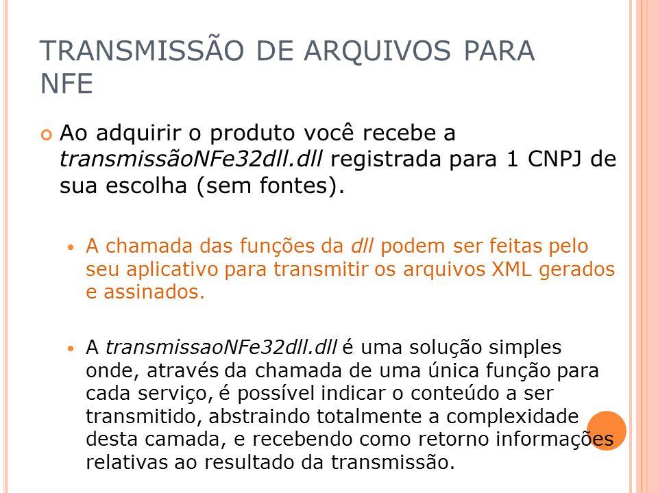 TRANSMISSÃO DE ARQUIVOS PARA NFE Ao adquirir o produto você recebe a transmissãoNFe32dll.dll registrada para 1 CNPJ de sua escolha (sem fontes). A cha