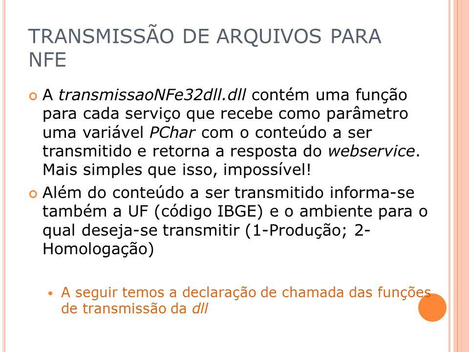 TRANSMISSÃO DE ARQUIVOS PARA NFE A transmissaoNFe32dll.dll contém uma função para cada serviço que recebe como parâmetro uma variável PChar com o cont